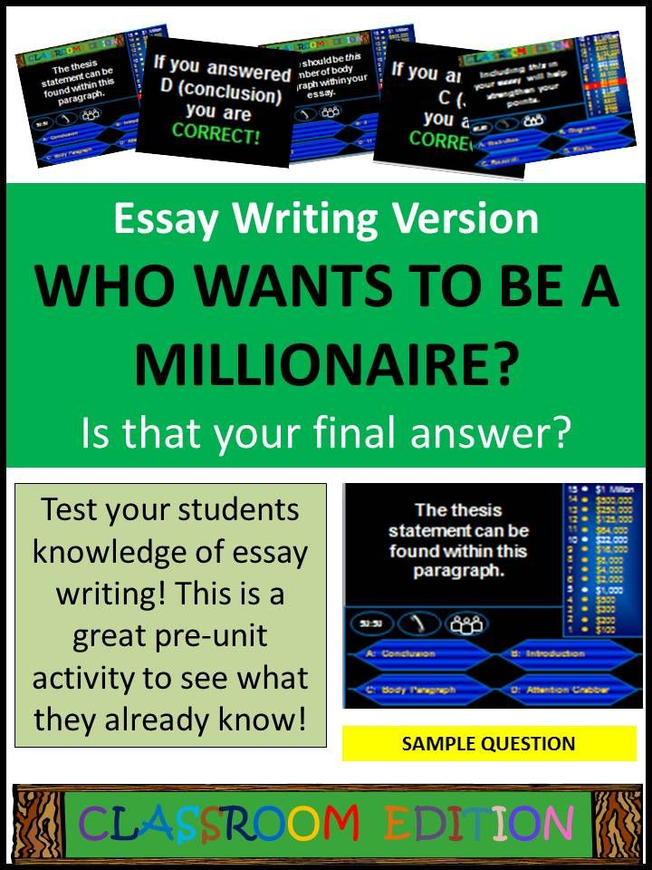 Classroom Millionaire Essay Writing Version Trivia Game