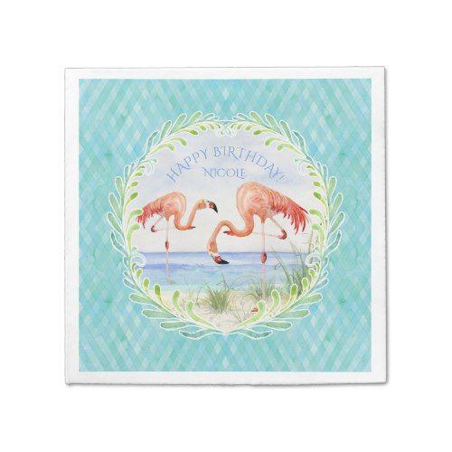 Watercolor Beach Flamingo Happy Birthday Party Paper Napkins