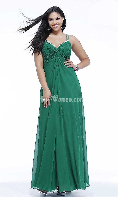 emerald chiffon full length sweetheart long plus size evening formal gown