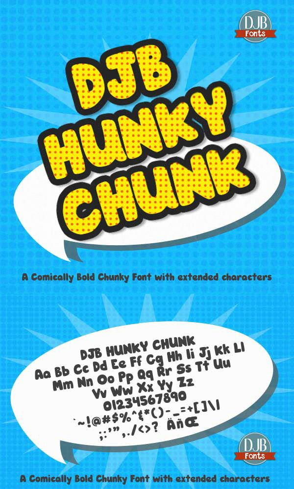 DJB Hunky Chunk Font - a comically bold font! Free for personal use at DJB Fonts.