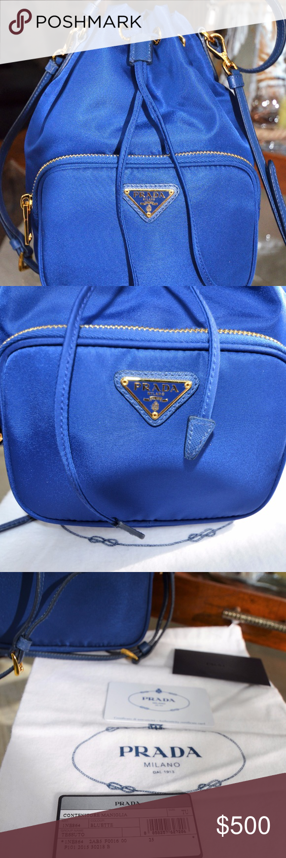 1623e2d7ff75 PRADA Contenitore Maniglia Bucket Crossbody Blue Authentic PRADA Saffiano  Tessuto Nylon Mini Bucket Crossbody Bag In