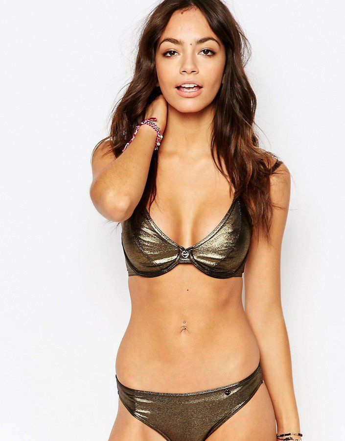 14014b5a5d6d ... That Are Brilliant For Bigger Busts Freya Swim Gold Rush Bandless  Halter Bikini Top (£32, sizes 30-38 C-FF cups) Gold Rush Ultra Low Rise  Hipster Brief ...