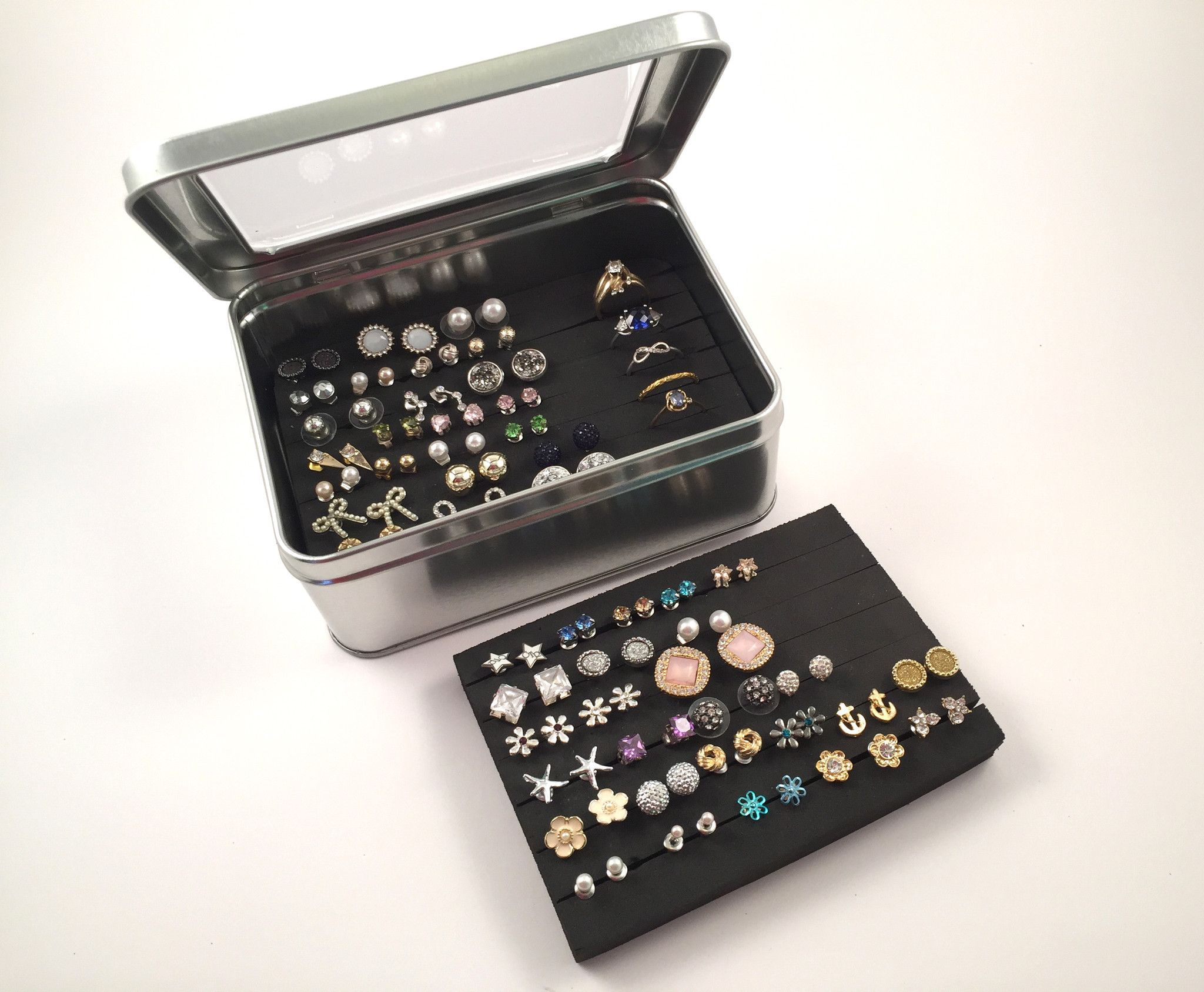 Tin Jewelry Box Extra Insert Earring Organizer Keep Earring