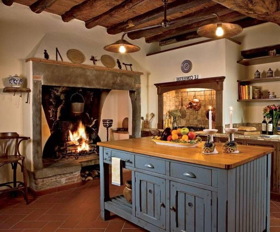 A Fire Place I M The Kitchen Awesome Italian Style Kitchens