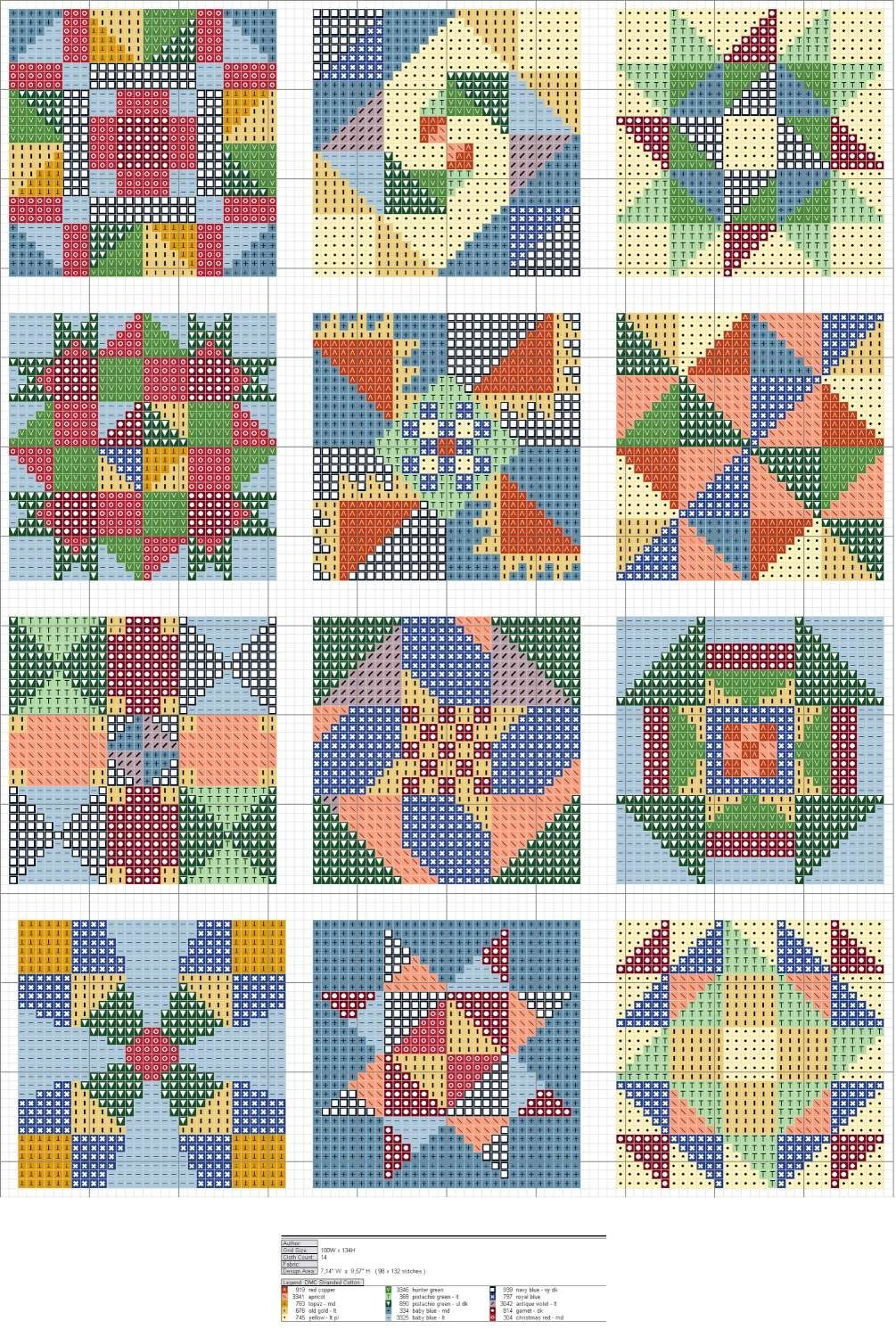 Free Cross Stitch Quilt Block Patterns... no color chart available, just use pattern chart as ...
