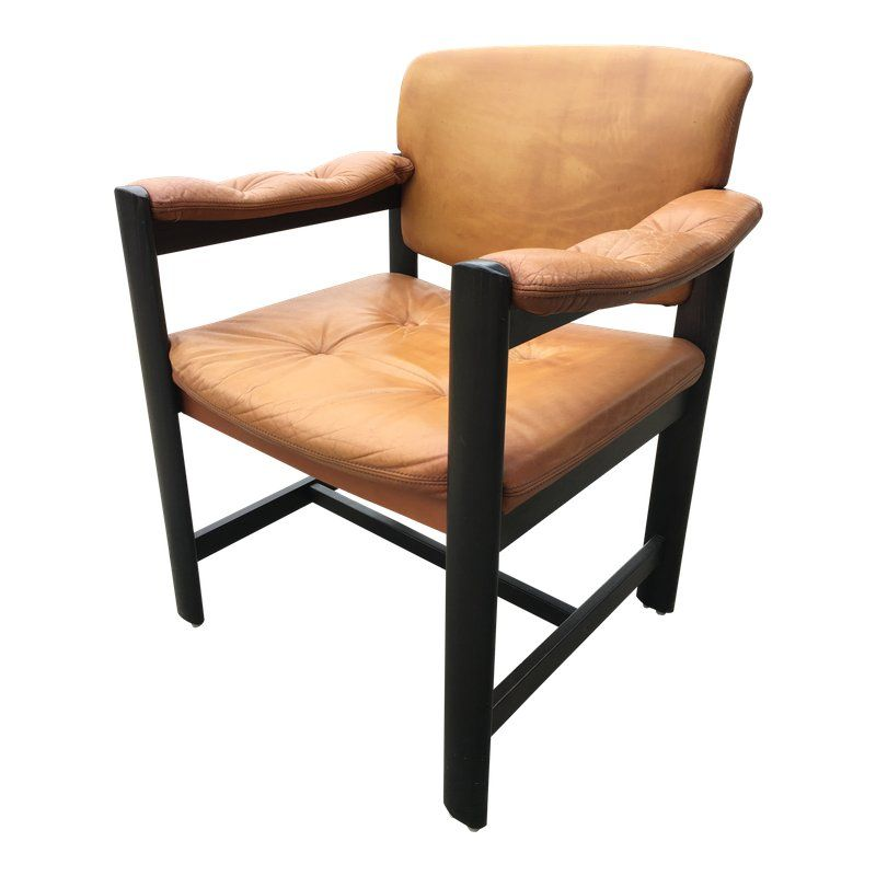 1970s Scandinavian Modern Ulferts Of Sweden Tan Leather Arm Chair