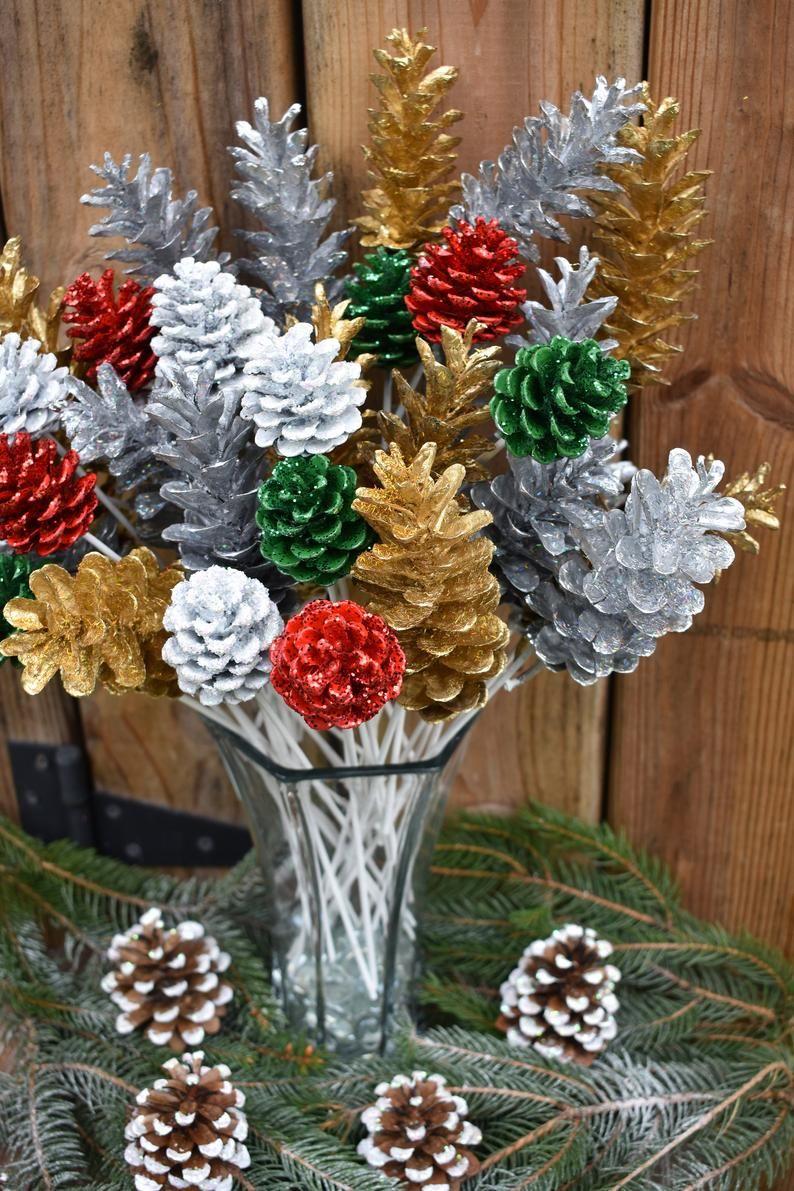Santa S Pine Cone Flowers One Dozen Glitter Pine Cone Flowers Pinecone Flowers On Stems Hand Crafted Pinecone Flowers Christmas Crafts Christmas Crafts Diy Xmas Crafts