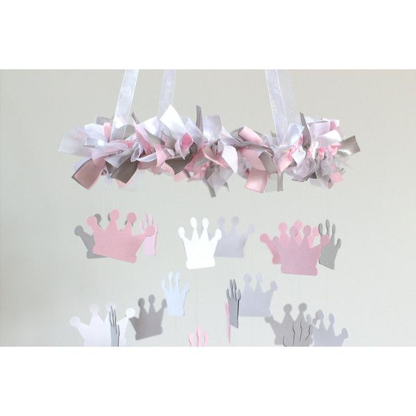 Princess Crown Nursery Mobile in Pink Gray & White Tiara Crown Mobile ($63) ❤ liked on Polyvore featuring home, children's room, children's decor, bedding, black and home & living