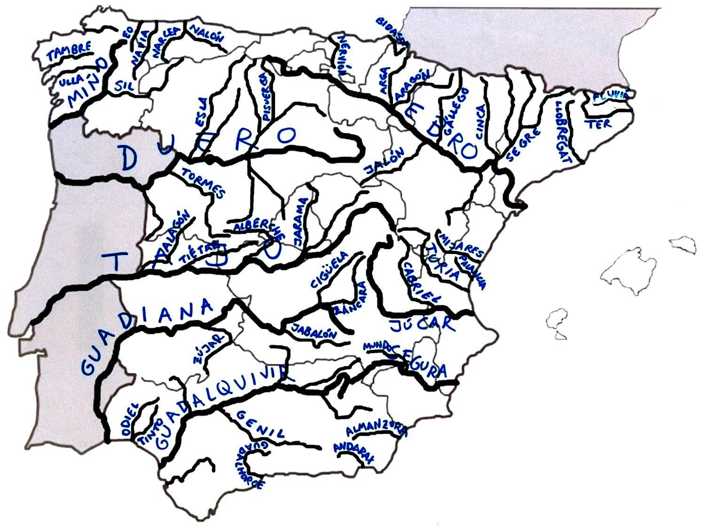 Mapa Interactivo Rios España.Rios De Espana Y Sus Afluentes Rios De Espana Espana Y