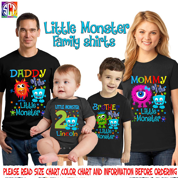 Little Monster Birthday Shirt Boy First Personalized SCT19 1