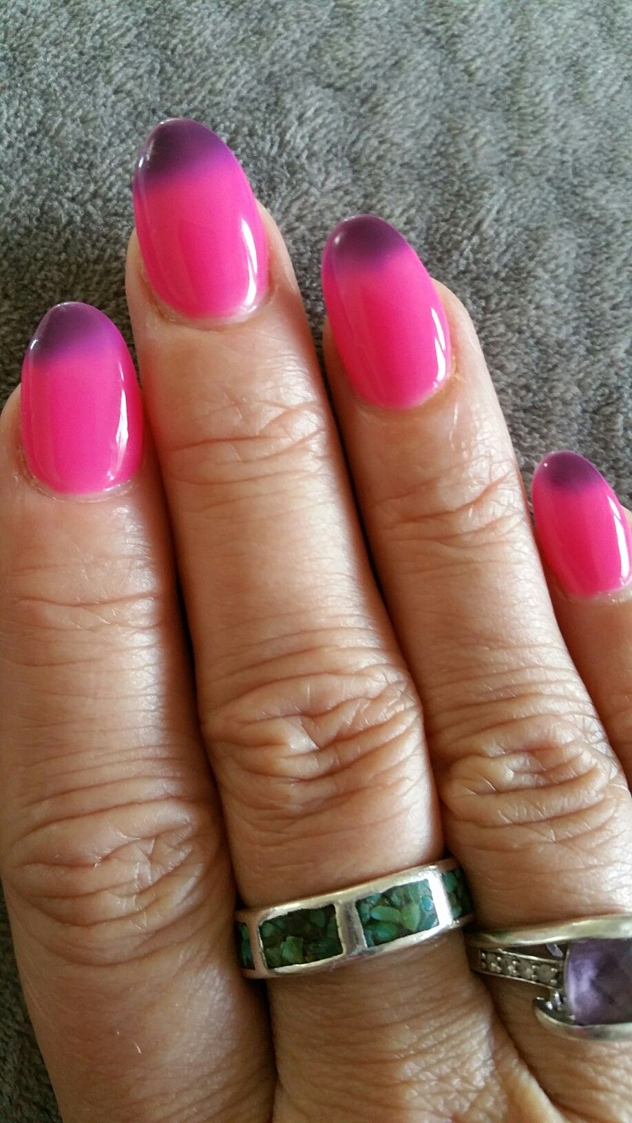 Mood Changing Shellac Nail Polish. Pink (hot) with Dark Purple (cold ...