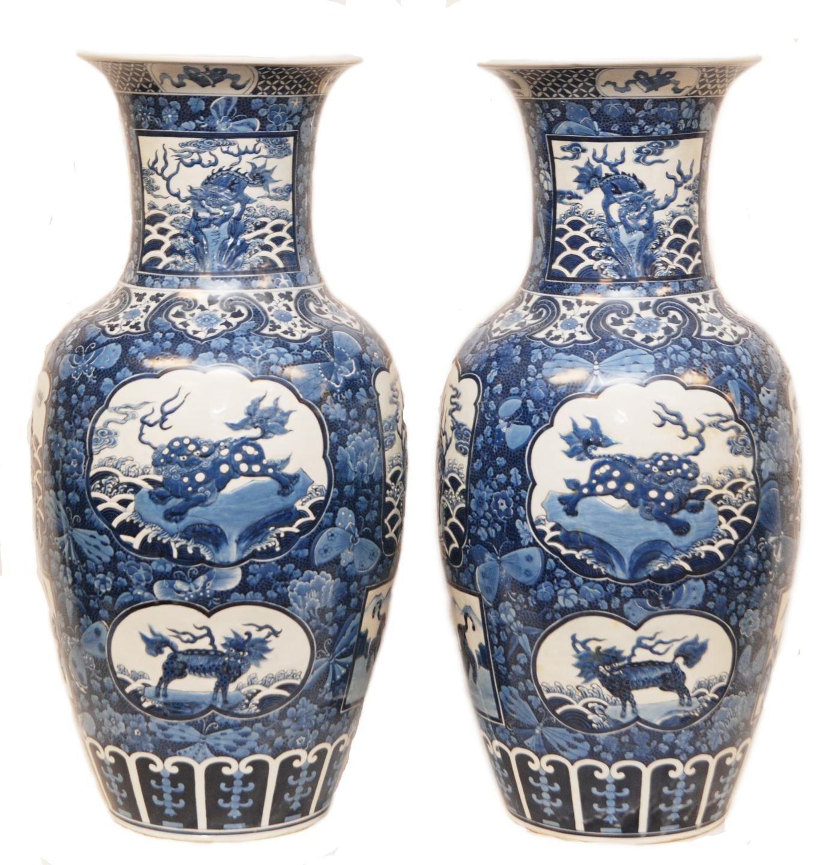 Pr 18th C CHINESE BLUE & WHITE FLOOR VASES Antique Chinese