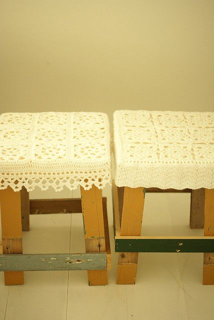 wood and wool stools