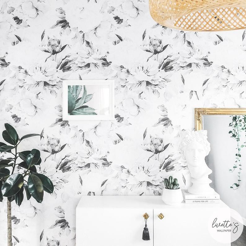 Floral Peony Removable wallpaper, Gray Watercolor Flower