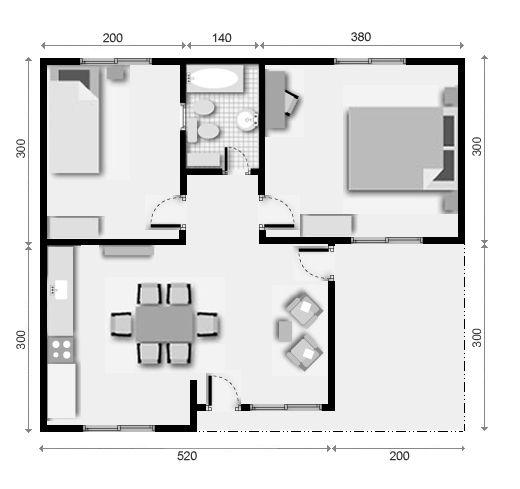 Viviendas prefabricadas de 43 mts 2 con 2 dormitorios for Disenos y planos de casas prefabricadas
