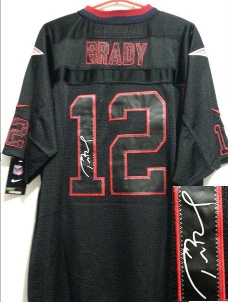 3e680c3f2 Men s Nike New England Patriots  12 Tom Brady Elite Black Shadow  Autographed NFL Jersey