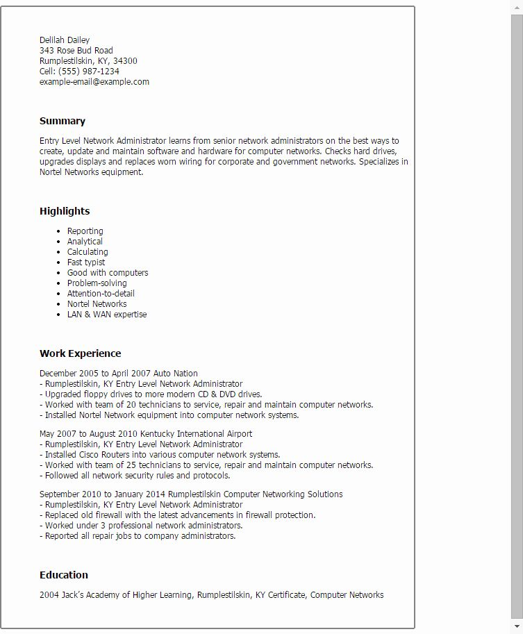 Network Administrator Resume Example Awesome 1 Entry Level