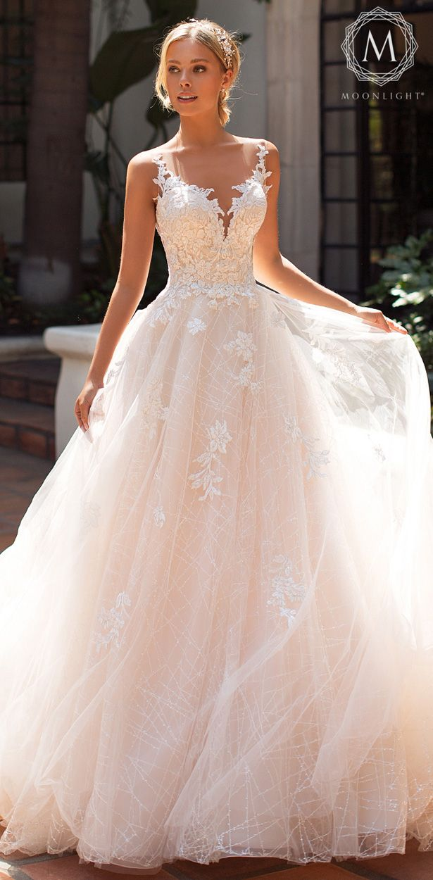 Moonlight Bridal Collection Wedding Dresses 2019 Blush Colored Ball Gown Wedding Dress With Sle Glamourous Wedding Dress Bridal Dresses Wedding Dresses Blush