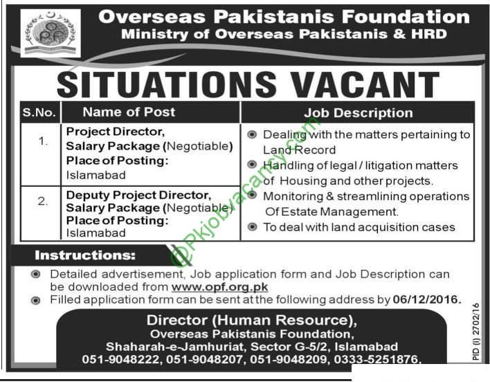 Jobs In Overseas Pakistanis Foundation OPF Available For Project - operations director job description