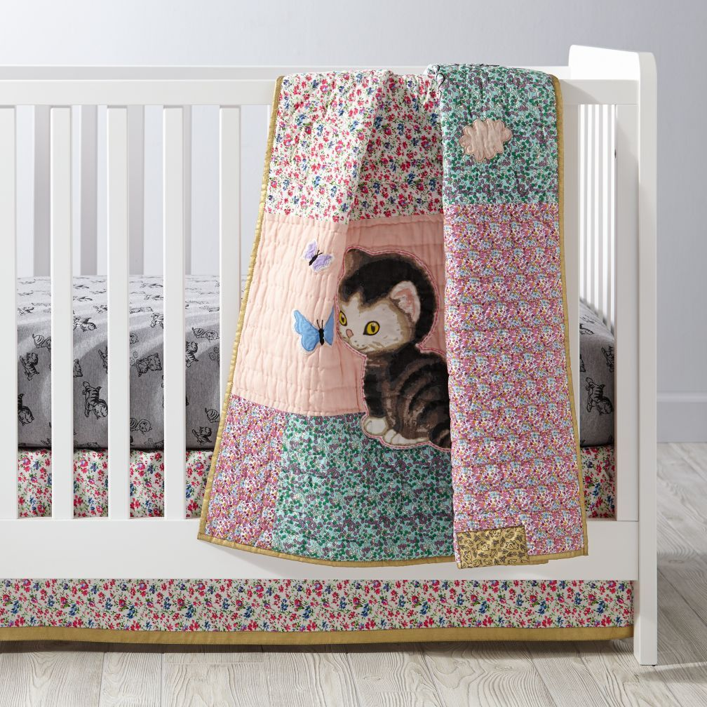 Shy Little Kitten Baby Quilt The Land of Nod Baby bed