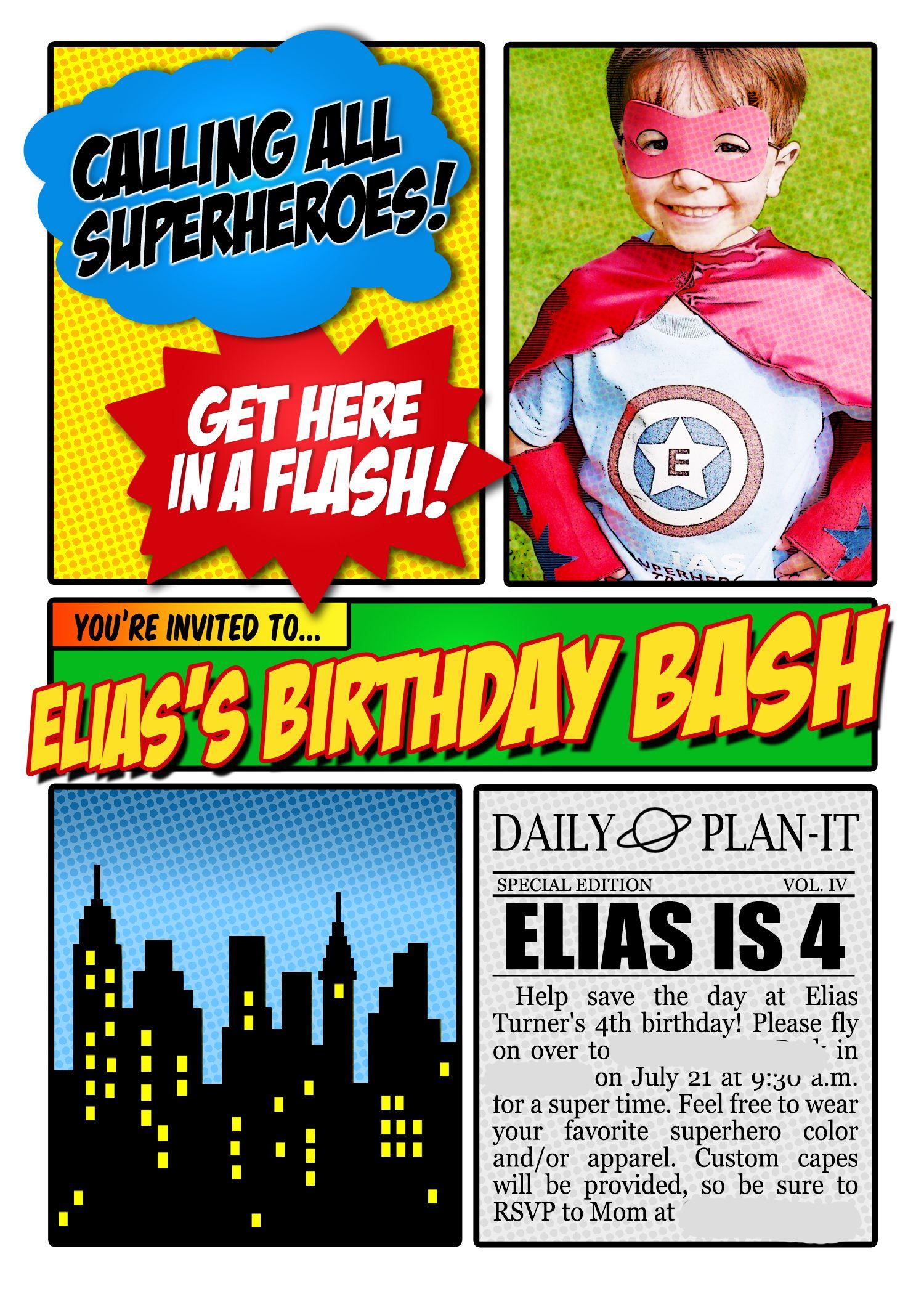 Super Hero Photo Invitation Birthday Party by thepattycakepress ...