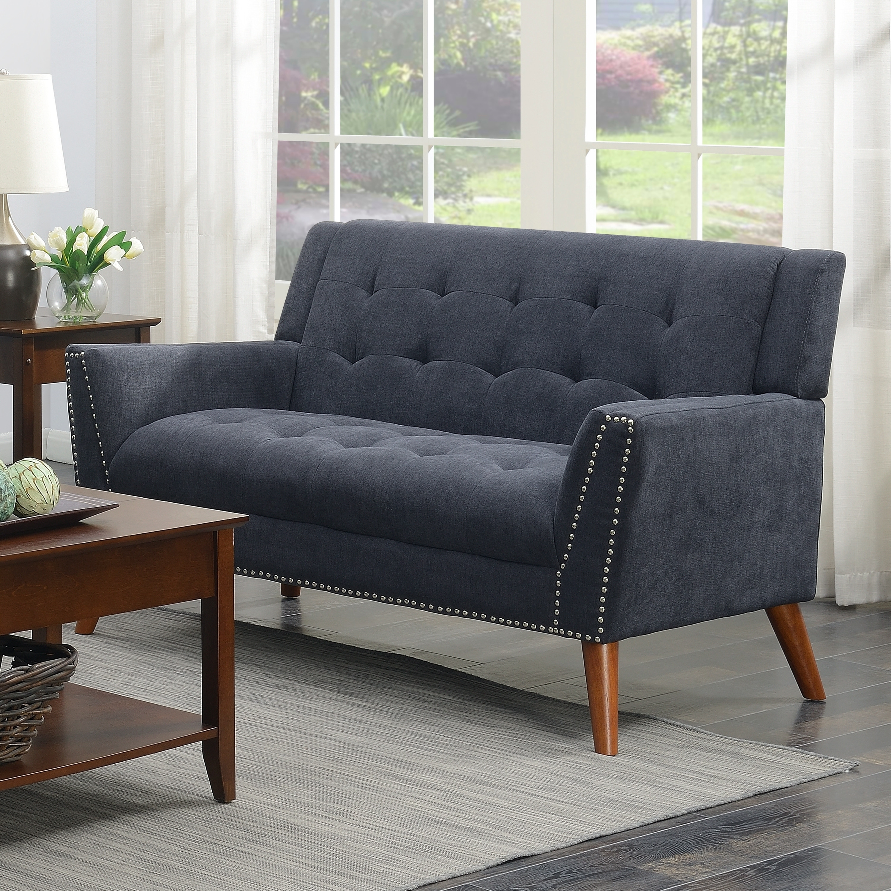 Kendall Mid Century Grey Upholstered Tufted Loveseat N A Gray
