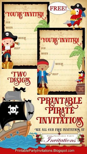 free printable party invitations free printable pirate invite