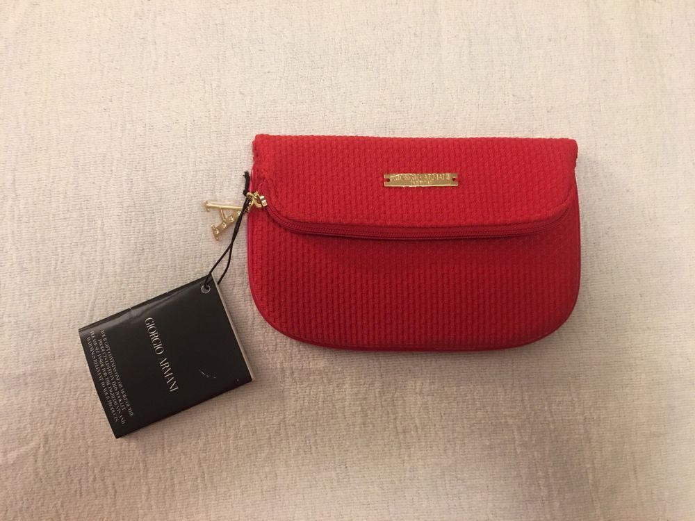 Armani Beauty Red Travel Makeup Cosmetic Bag