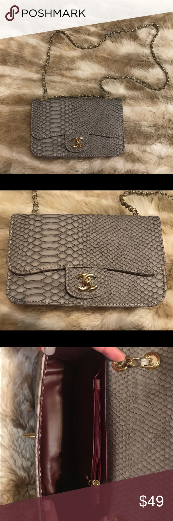 80a8802baddd Coco snakeskin crossbody Grey, New! 💥💥INSPIRED COCO CHANEL💥💥 not real  leather. New never used Bags Crossbody Bags