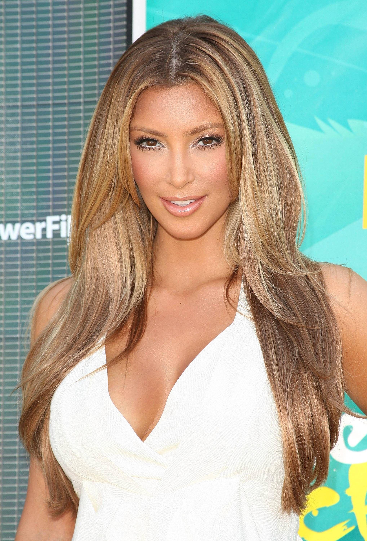 Kim Kardashian Casual Brown Long Haircuts