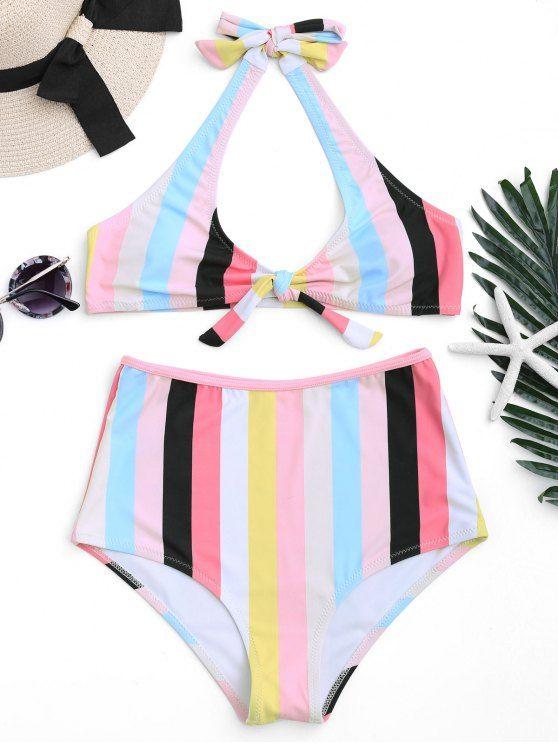 98b4e847b26b7 Padded Knotted Striped High Waisted Bikini - STRIPE S