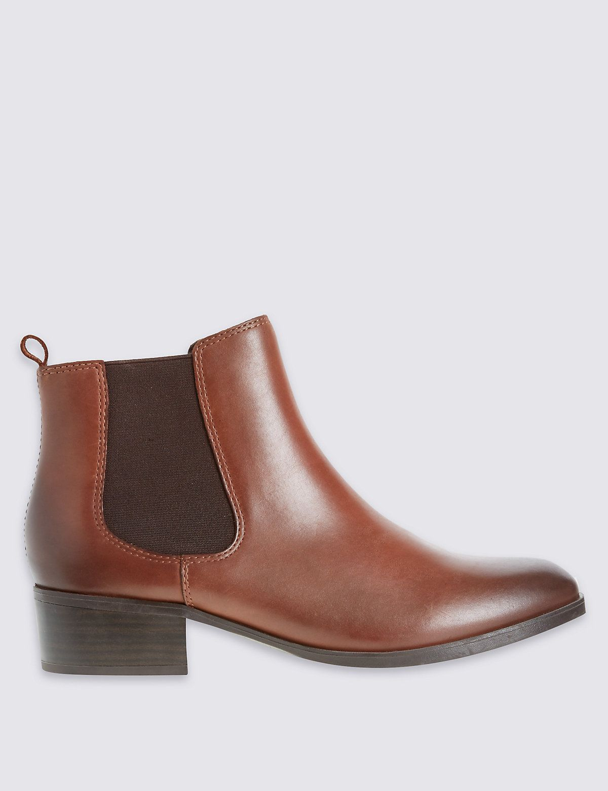 da351d5ccc86 Wide Fit Leather Block Heel Ankle Boots