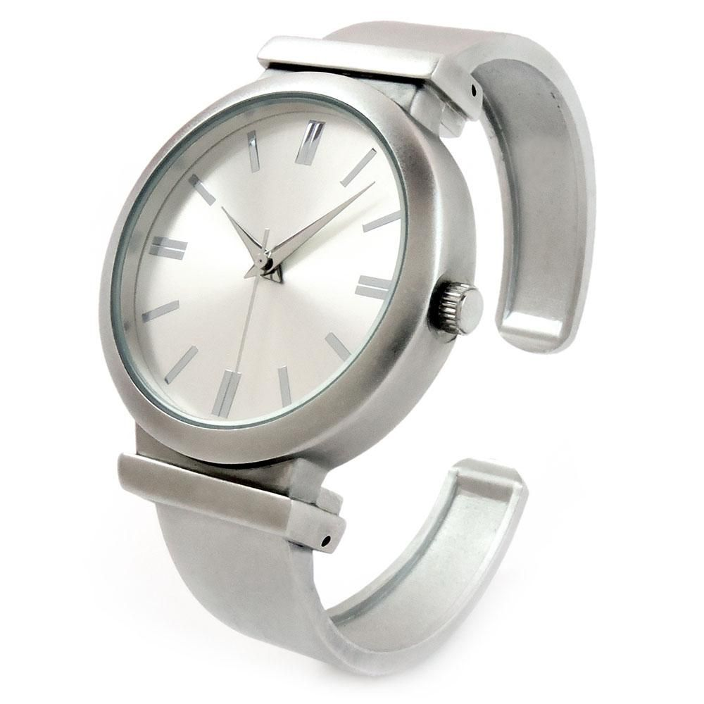 703e4e5f9 Brushed Nickel Matte Finish Large Face Women's Bangle Cuff Watch in ...