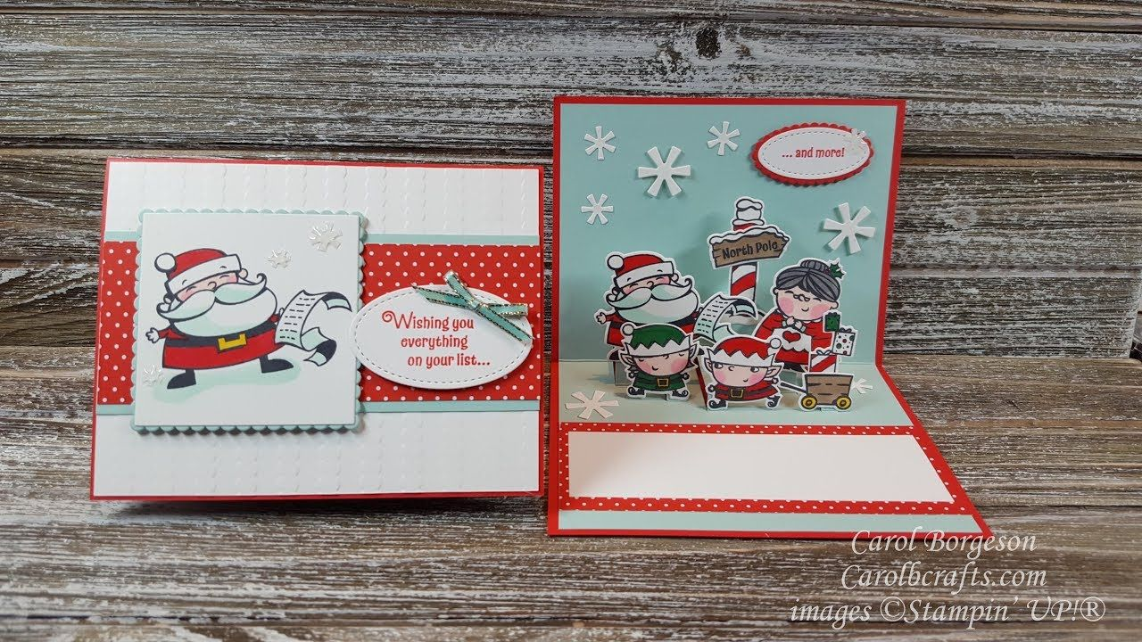 Youtube Kerstkaarten Stampin Up Signs Of Santa Pop Up Fun Fold Christmas Card Part 1