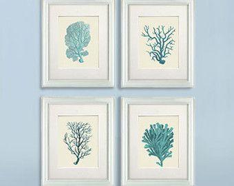 Set 4 Coral Prints Mist Blue Green Nautical Print