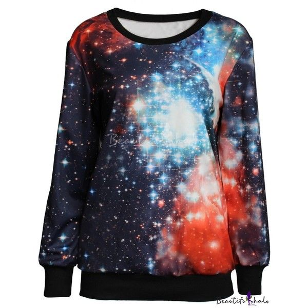 Starry Night Sky Print Round Neck Long Sleeve Sweatshirt (€15) ❤ liked on Polyvore featuring tops, hoodies, sweatshirts, pullover hooded sweatshirt, sweatshirt hoodies, patterned hoodies, hooded sweatshirt and star sweatshirt