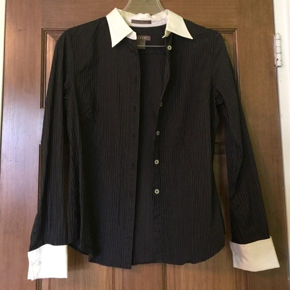Women's Pinstripe Dress Shirt | White collar, Pinstriping and ...