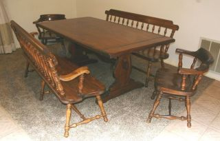 Ethan Allen Old Tavern Style Dining Room Trestle Table 2 Benches Chairs