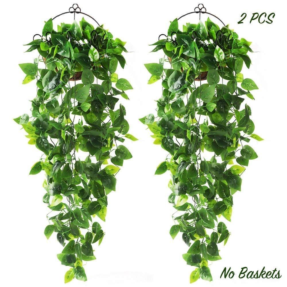 2pcs Artificial Hanging Plants 3.6ft Fake Ivy Vine
