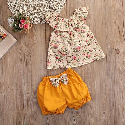fad6024af388 Summer Newborn Baby Girl Clothes Floral Top +bow-knot Shorts 2PCS ...