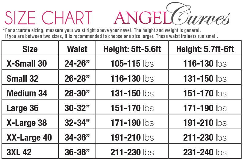 ae416a867 Angel Curves Size Chart