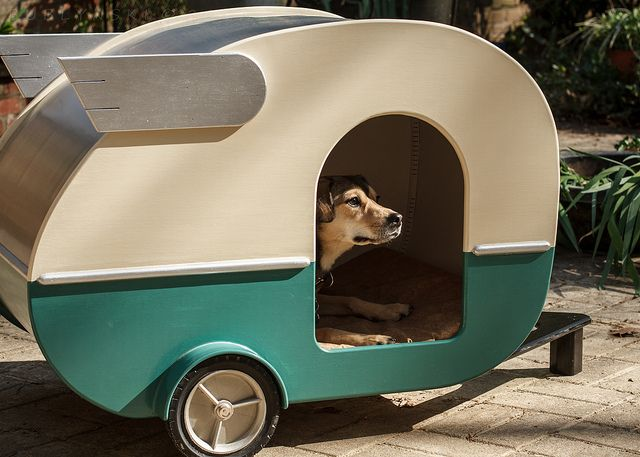 Coolest birthday present ever!  My genius husband built this indoor Shasta camper doghouse for our pups - love it!