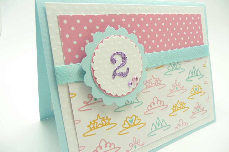 Girls 2nd Birthday Greeting Card Princess Birthday Card Handmade