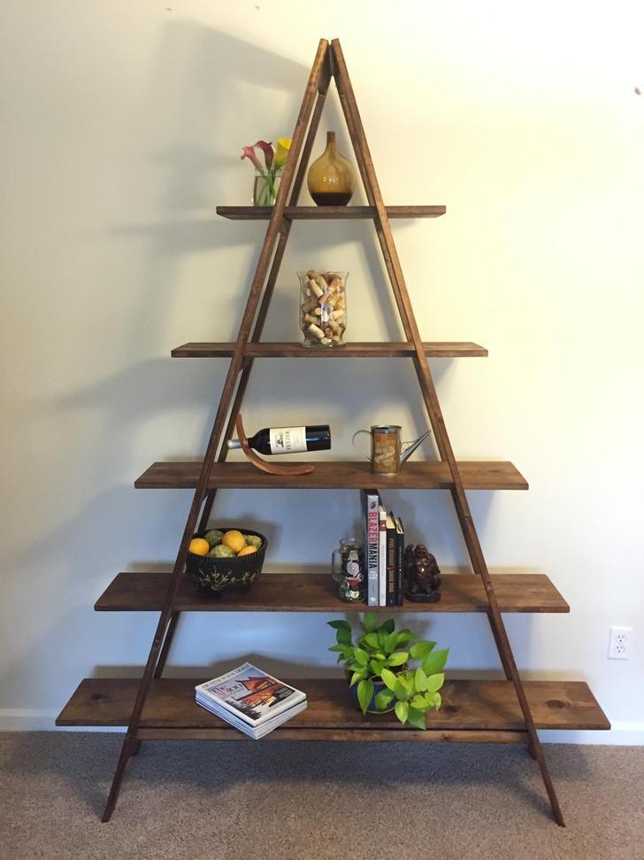 Diy aframe ladder bookshelf in 2020 ladder bookshelf a