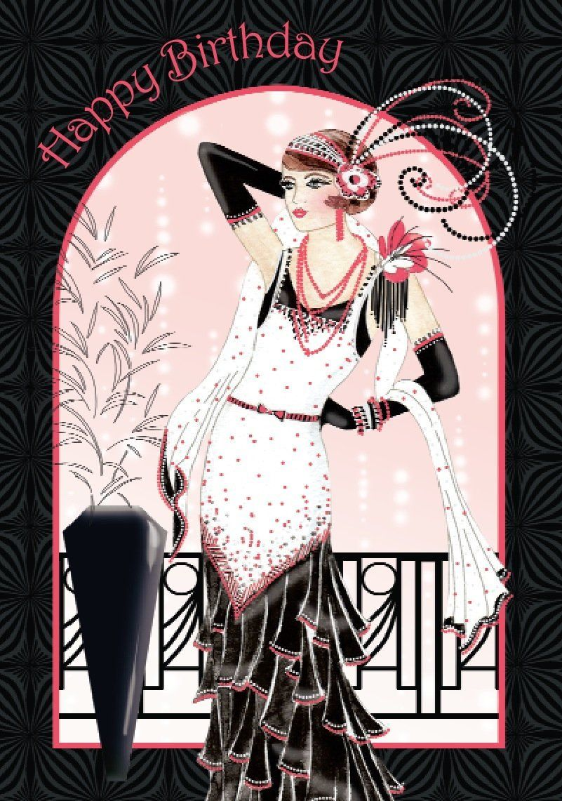 Art Deco Lady Happy Birthday Card Amazoncouk Office Products