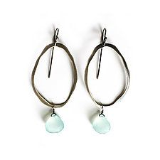 "Thin Rough Cut Elongated Earrings with Stone by Lisa Crowder (Silver & Stone Earrings) (2.5"" x 1.13"")"