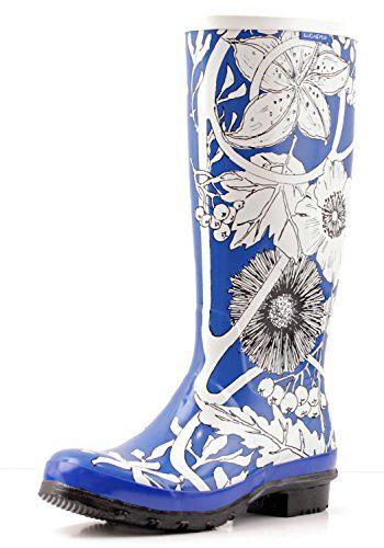 Women's Tall Winter Flowers Wellies Rain Boots