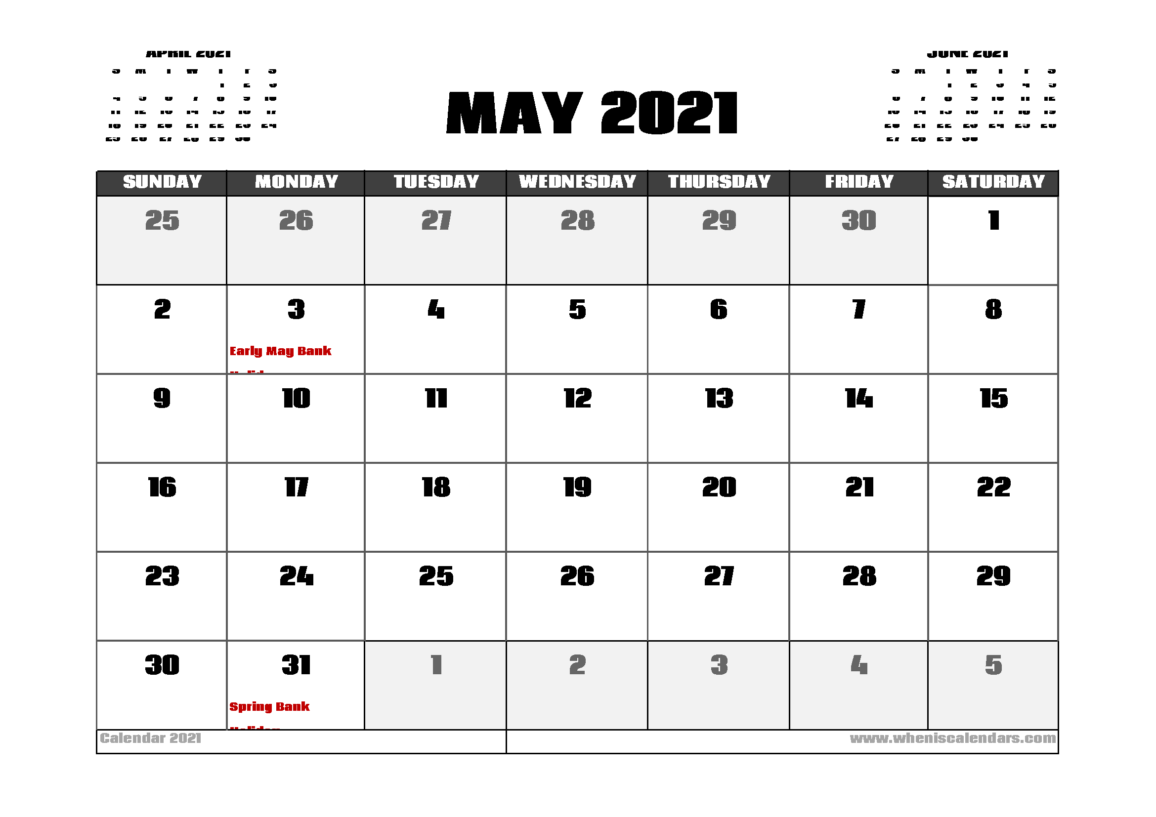Calendar For May 2021 With Holidays Background