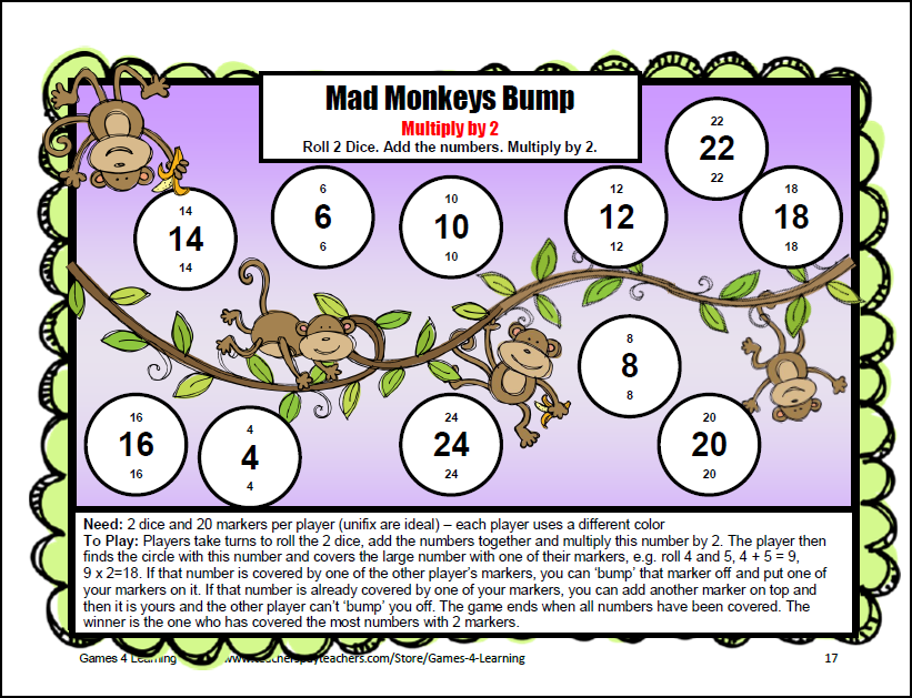 math worksheet : printable monkey game board  the mad monkeys bump is part of my  : Free Multiplication Games Worksheets