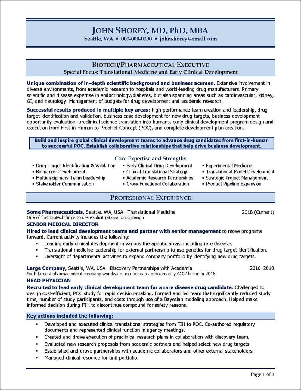Example Resume For A Biotechnology Pharmaceutical Industry Executive Resume Examples Resume Professional Resume Samples